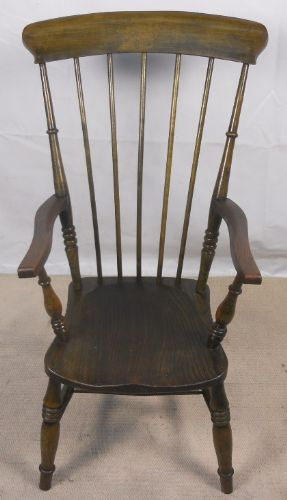 Antique Jacobean Style Windsor Beech & Elm Stickback Armchair - SOLD